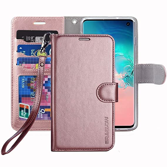 online store 952b5 64f91 Galaxy S10 Wallet Case, Galaxy S10 Case, ERAGLOW Premium PU Leather Wallet  Flip Protective Phone Case Cover w/Card Slots & Kickstand for Samsung ...