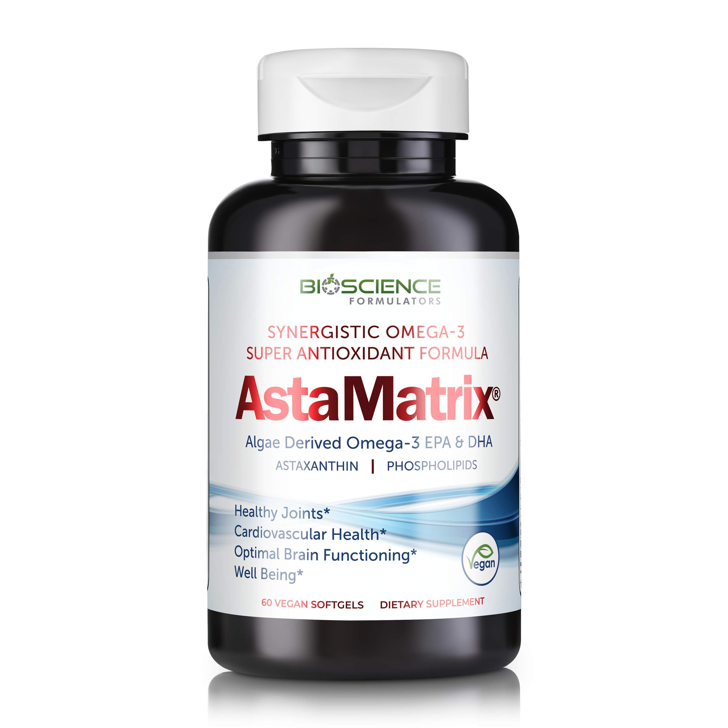 AstaMatrix® Boost Your Immune System with Algal Omega 3 DHA EPA Astaxanthin | Vegan-Friendly Alternative to Krill Oil or Fish Oil | Promotes Joint Heart Brain & Skin Health | 60 Vegan SoftGels