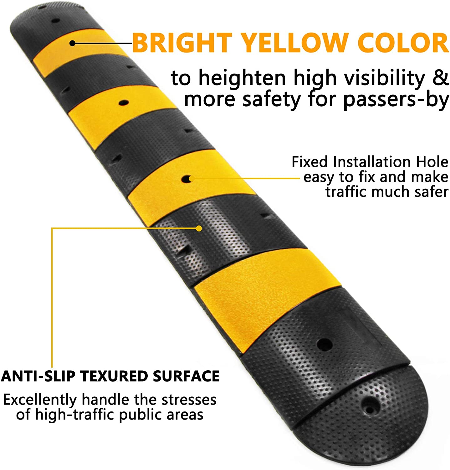 Scinotec 7 Feet Rubber Speed Bumps 1 Pack 2 Channel 27000Lbs Load ...