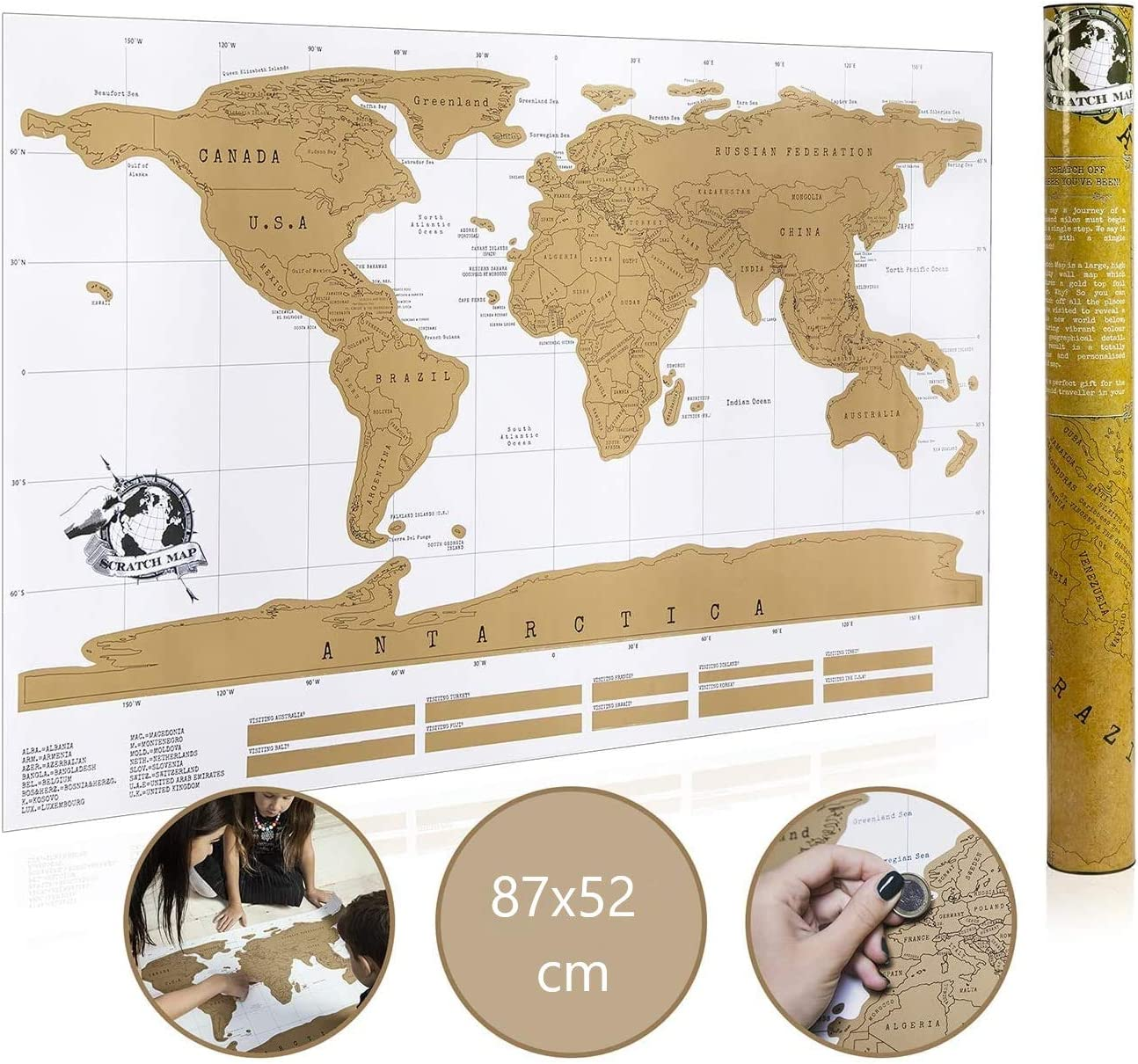 30 x 42 cm Incluye tubo y rascador de regalo Poster del mapa del mundo para rascar 30 x 42 Poster de lujo World Scratch Map Edicion para viajes.