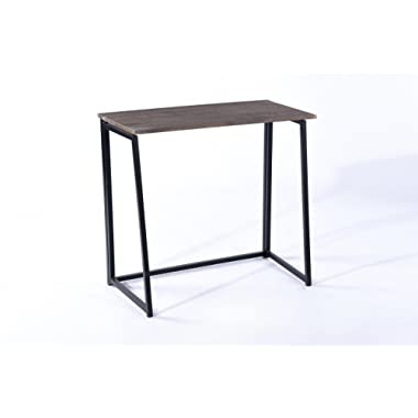 Vintage Brown Top / Black Metal Frame Folding Writing Laptop Reading Desk Spacesaver