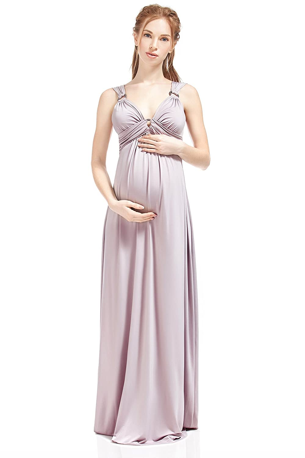 Nothing But Love Maternity And Nursing Dress Giovanna Silky Empire Waist Maxi By NBL