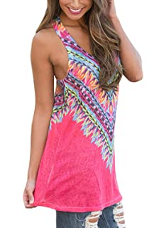 78d2153f03f77 Elapsy Womens Tribal Print Sleeveless Loose Tunic Tank Tops Casual Blouses  Vest T Shirt