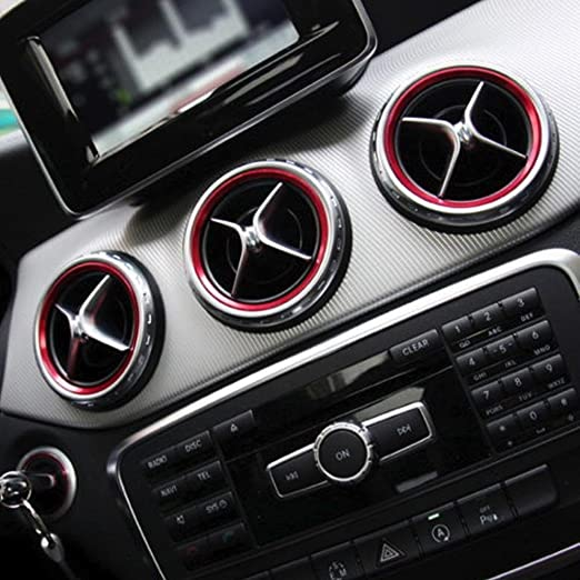 Amazon.com: x xotic tech Red Ring Cover Trims Air Vent Outlet for 2013-18 Mercedes Benz CLA GLA Class: Automotive