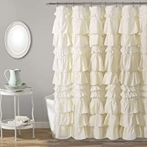 Lush Decor, Ivory Kemmy Shower Curtain, 72