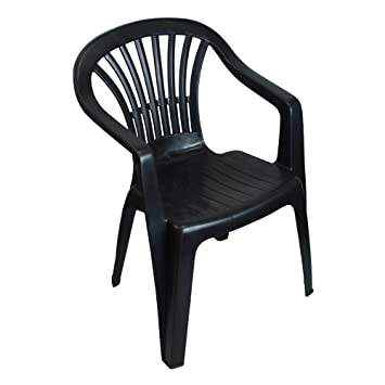 db7966a55336 CrazyGadget Plastic Garden Low Back Chair Stackable Patio Outdoor Party  Seat Chairs Picnic Grey (X1