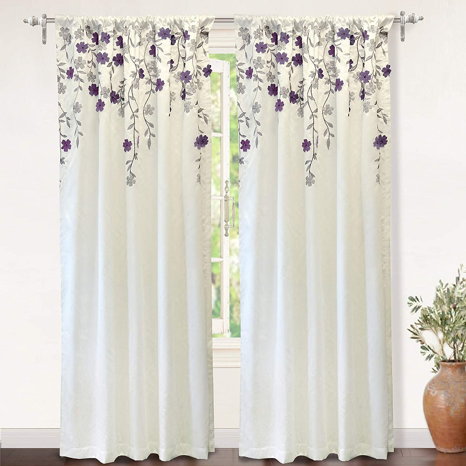 DriftAway Isabella Faux Silk Embroidered Window Curtain Embroidered Crafted Flower Lined with Thermal Fabric Single Panel 50 Inch by 84 Inch Ivory Purple