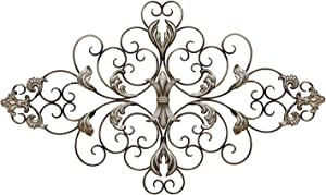 Stratton Home Decor SHD0139 Ornate Scroll Wall Decor, 36.00 W X 0.75 D X 21.75 H, Champagne