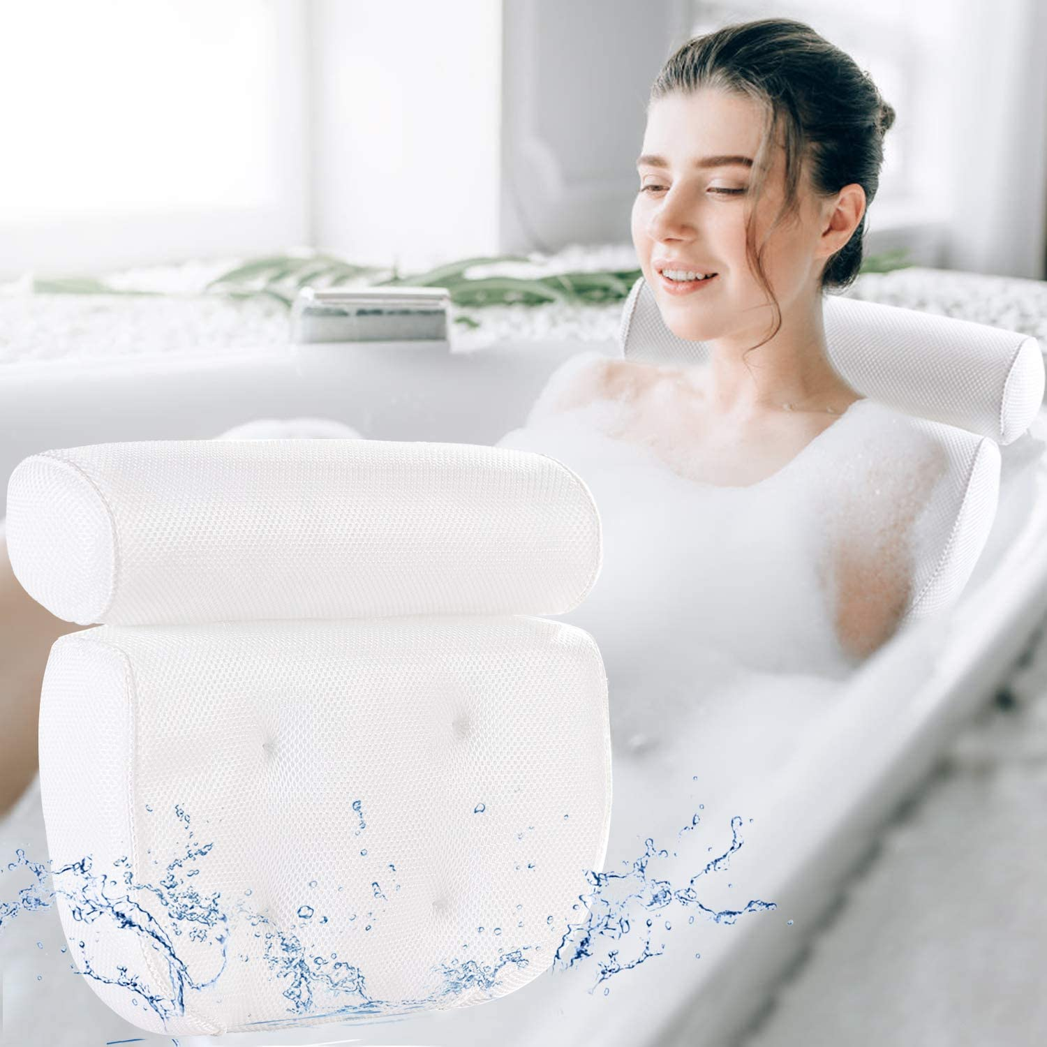 Bath Pillow Bathtub Pillow - Bath Pillows for Tub with Neck, Head, Shoulder and Back Support - 3D Air Mesh Spa Bath Pillow, Non-Slip, Extra Thick, Soft and Quick Dry Spa Pillow for Bathtub