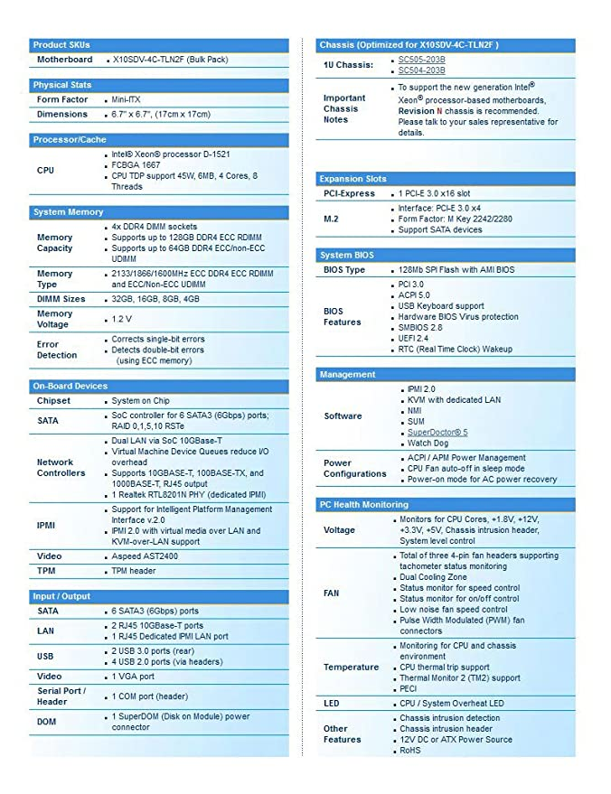 Super Micro MBD-X10SDV-4C-TLN2F- Network Server: Amazon co uk