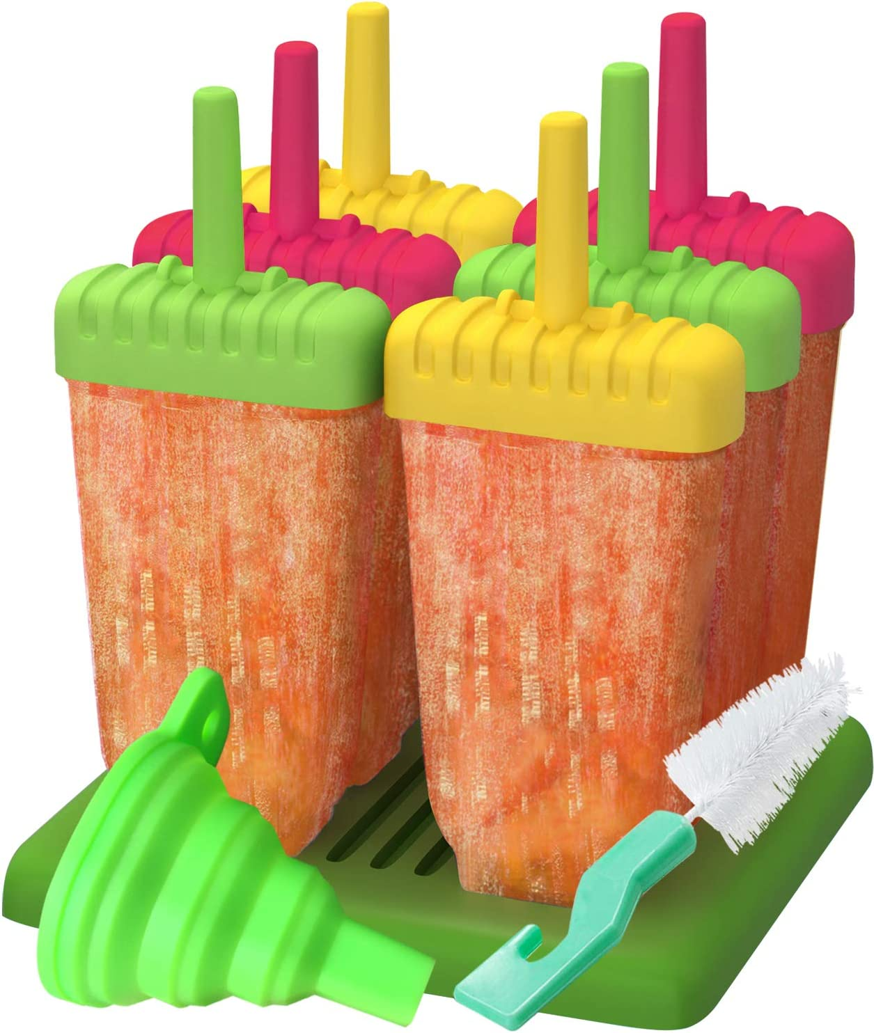 Popsicle Molds, Ozera Set of 6 Reusable Ice Pop Molds Popsicle Maker, Come with Silicone Funnel & Cleaning Brush