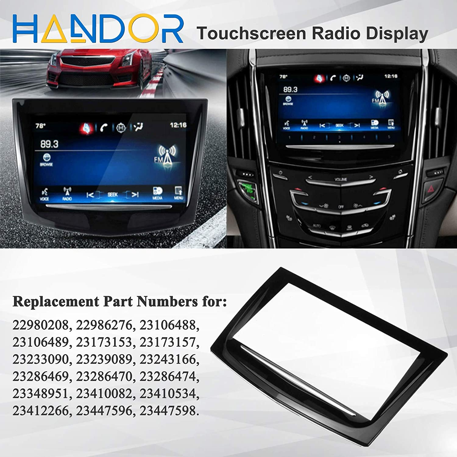 Handor CUE Replacement Touch Screen Display Compatible with Cadillac ATS Escalade SRX XTS ELR CTS CTS 2013 2014 2015 2016 2017