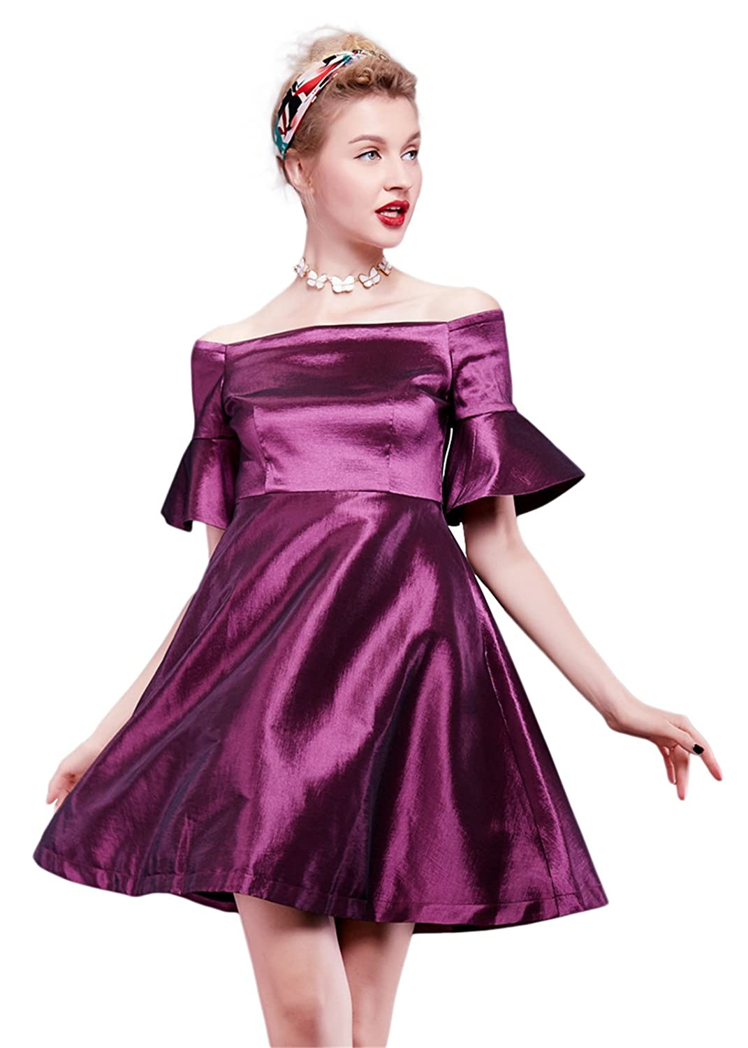 Luna et Margarita A-line satin cocktail dress high waist feminine and classic design