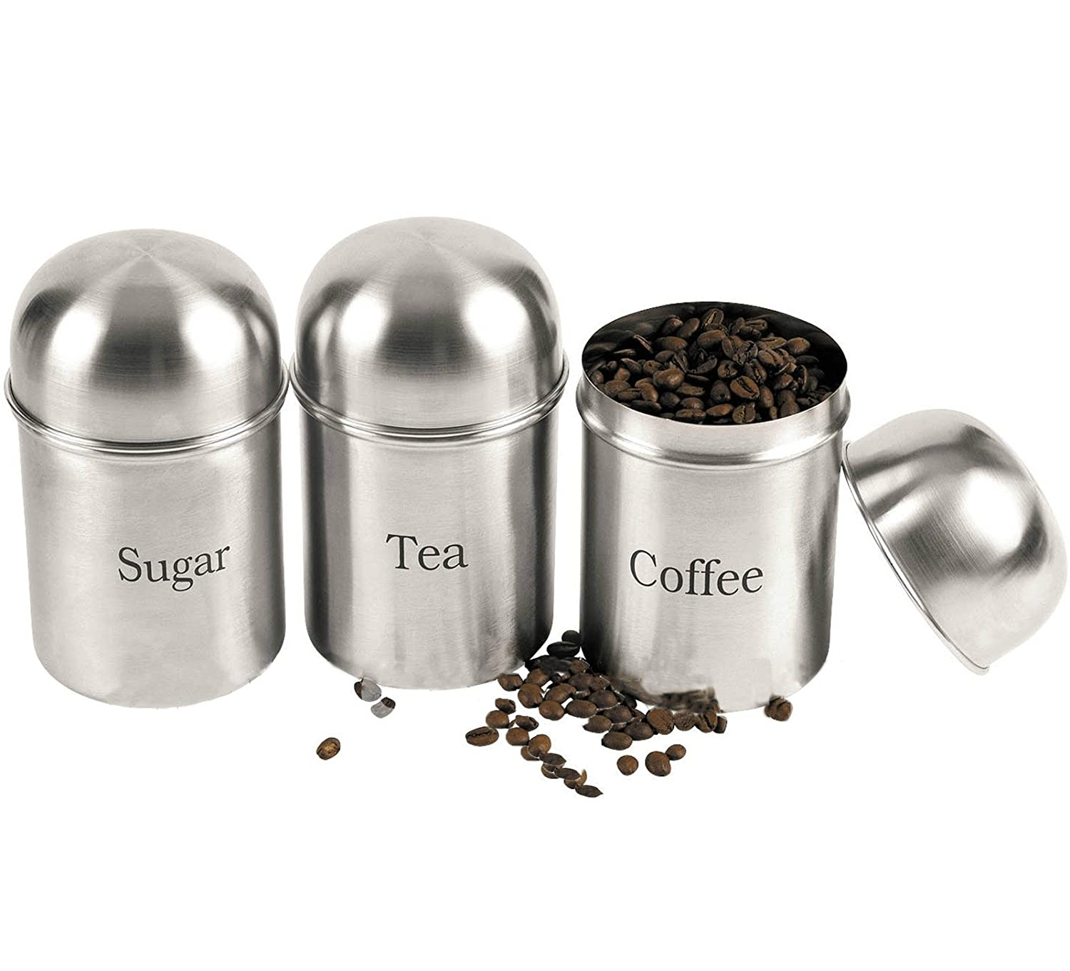 3PC CANISTERS COFFEE SUGAR TEA STAINLESS STEEL STORAGE JARS POT KITCHEN SET NEW Prima Others