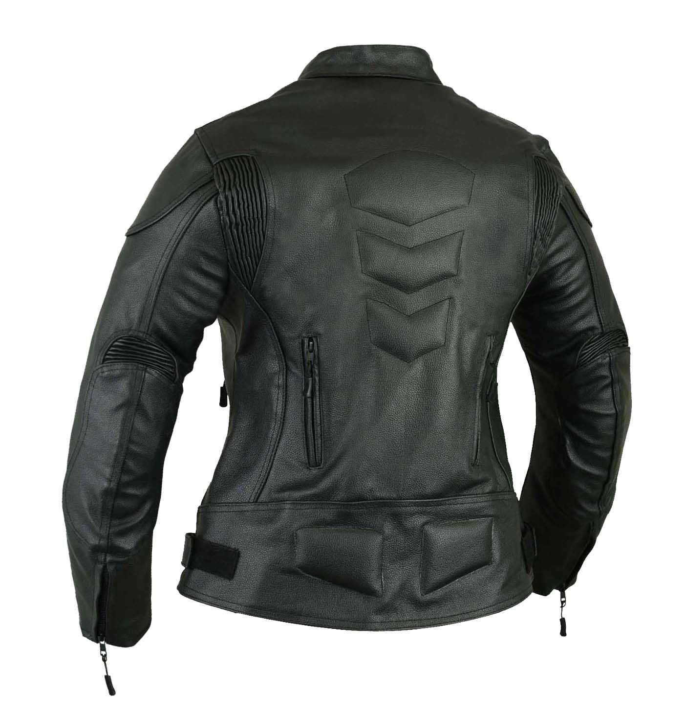 Black Womens Impact Leather Motorbike Jacket Motorcycle XL