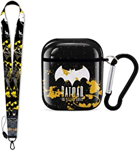 Batman Airpods Case Compatible with Airpods 1 & 2 Airpods Cover with Key Chain, Full Protective Durable Shockproof Personalize Wireless Headphone Case