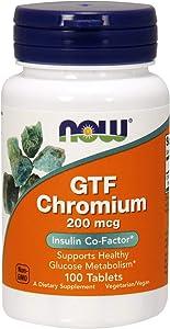 NOW Supplements, GTF (Glucose Tolerance Factor) Chromium 200 mcg, 100 Tablets