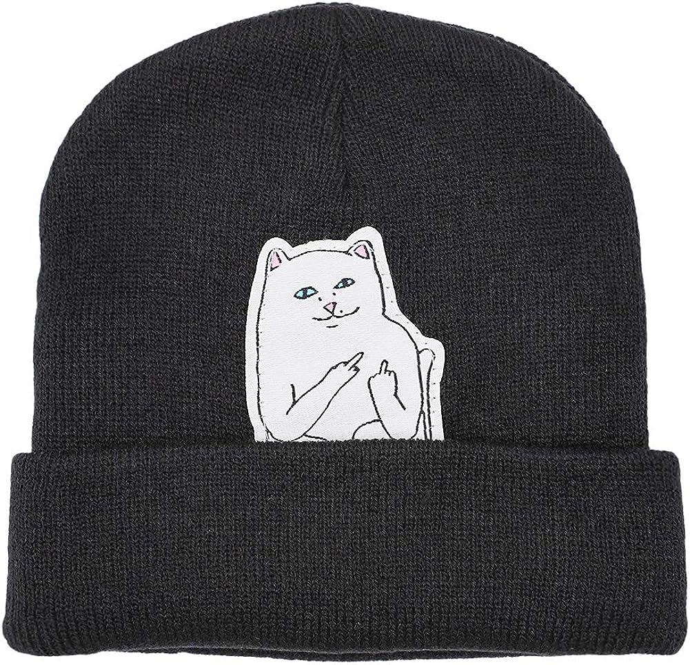 Funbase Unisex Men Women Knit Cuff Beanie Hip Hop Beanie Hat Cat Crochet Skull Cap