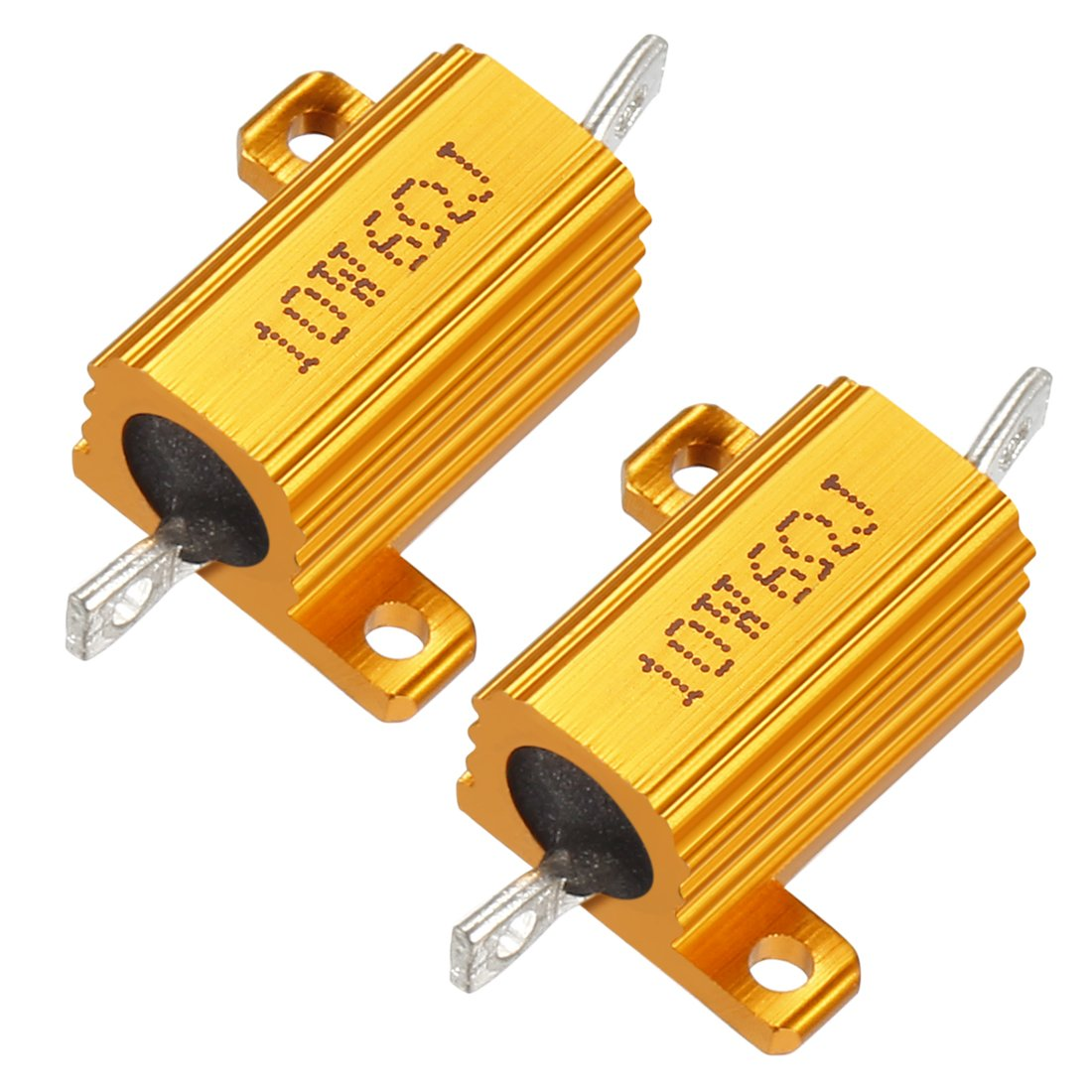 uxcell 2 Pcs Aluminum Case Resistor 10W 6 Ohm Wirewound for LED Converter with Rod Post 10W6RJ