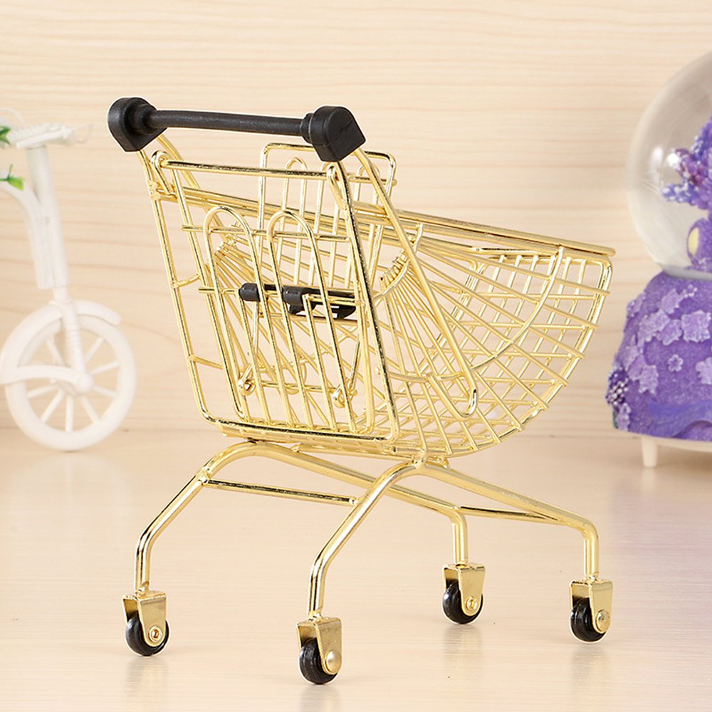 wgg Mini Shopping Cart Supermarket Handcart Trolley Children's Toys, Table Office Novelty Decoration, Creative Storage Tools (Gold, Fan-Shaped)