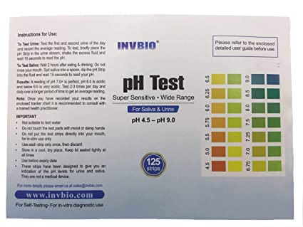 [125 ct] INVBIO Human Body pH Level Test Kit, Best PH Test Strip for Urine  and Saliva, Alkaline & Acidic pH
