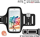 iPhone X/6/6s/7/8 Plus Armband PORTHOLIC Sweat Resistant Sports Armband For Galaxy S8,S8 Plus,S7 edge,S6 edge, or Any Screen Up to 6.0 inches With Extension Band, Key&Card Holder, Cable Locker (black)