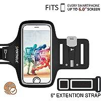 PORTHOLIC® Brazalete deportivo Para Deportes Más Correa De Extensión Con soporte para llaves, cables y tarjetas para iPhone 8 Plus/7 Plus/6 Plus ,Galaxy S9/S8 Plus,Huawei P20,6.0 pulgas (negro+)