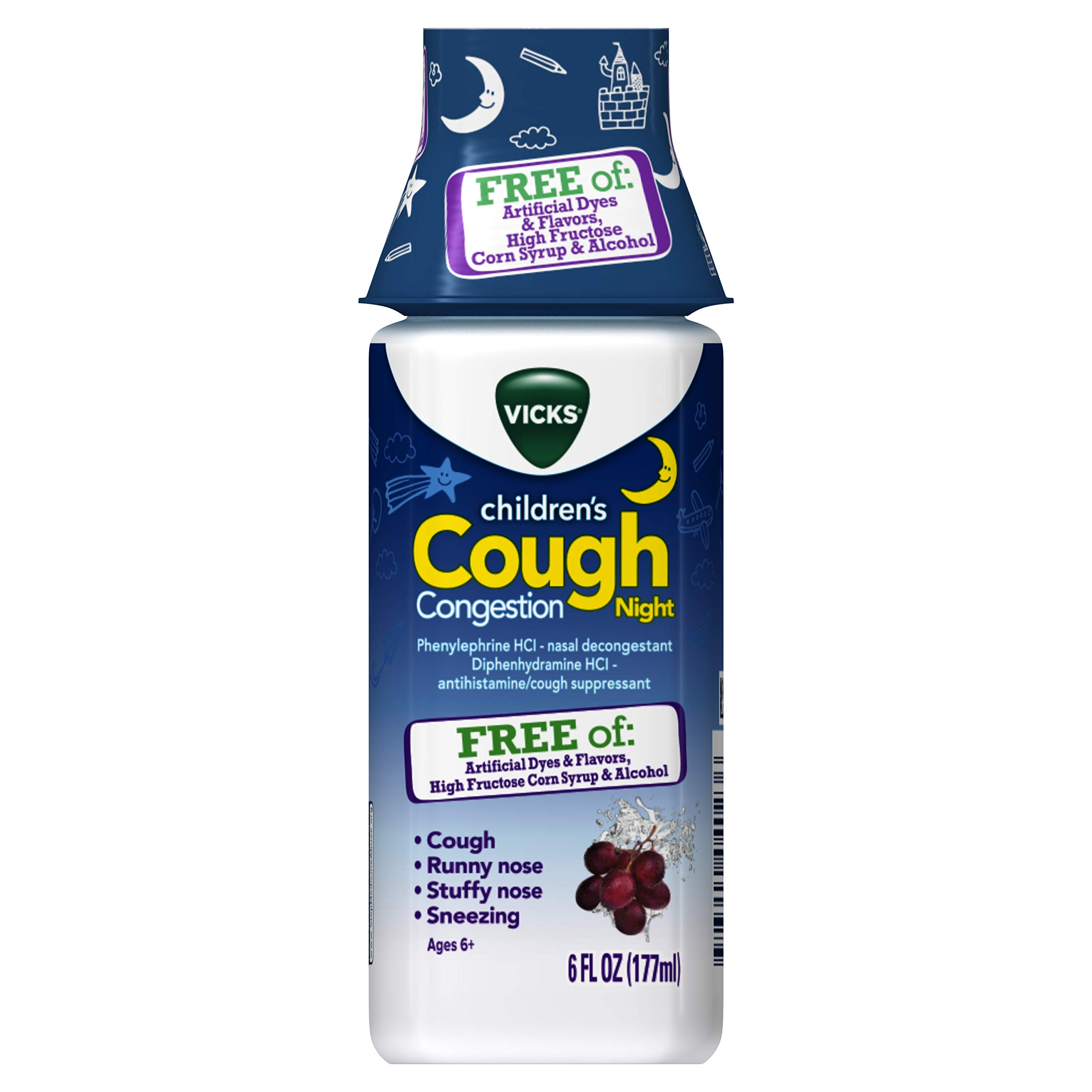 Vicks Children's, Night Cough & Congestion Relief, Free of Artificial Dyes & Flavors, Nighttime Berry Flavor, 6 FL OZ