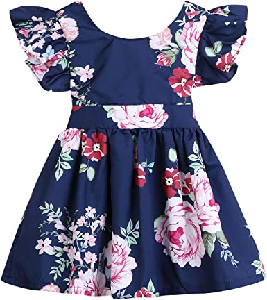 Summer Toddler Baby Girl Sleeveless Clothes Flower Backless Party Dress Sundress