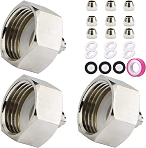 JUSONEY 3PCS Garden Hose Adapter- Convert 3/4 INCH Female Thread to 1/4 INCH Tubing- Three Size Lock Cap- Brass Faucet to Hose Adapter with 6 PCS Rubber Washers,Filter Washers and Sealant Tape