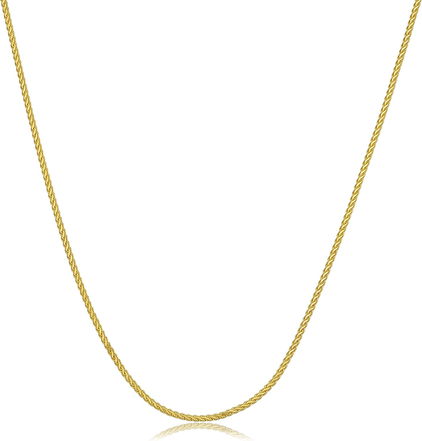 1.2 mm Solid 14k Yellow Gold Chain Wheat Necklace Flat Open Thin Cable