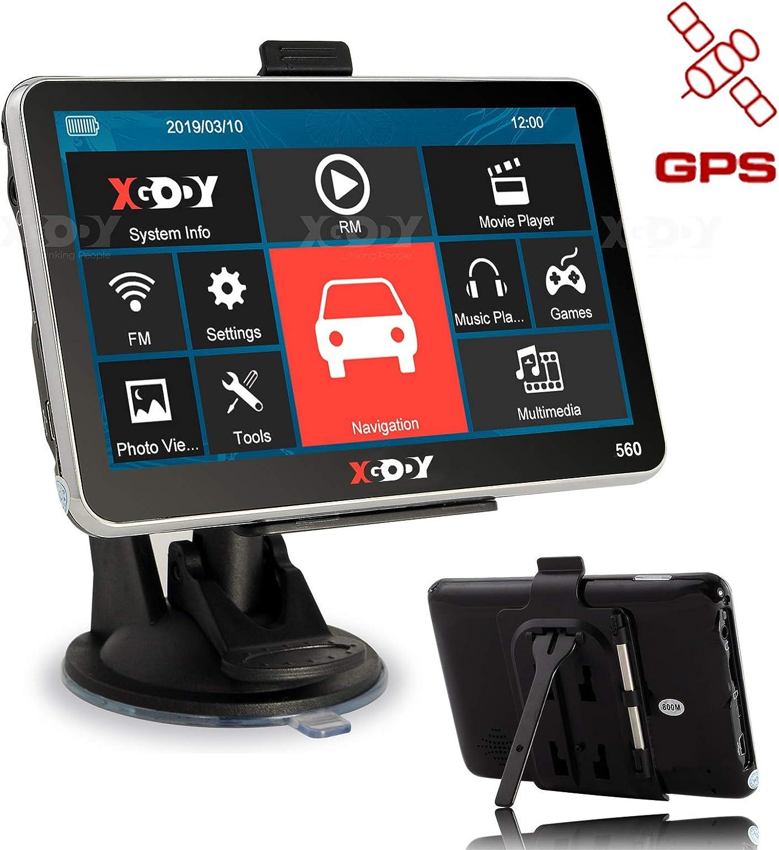 XGODY 560 GPS,Navegador para Coche y Camión -Navegación de 5 Pulgadas-Llamadas Manos Libres-Actualizaciones Gratis de Mapas(EU) de por Vida-Pantalla Capacitiva-Sistema de Navegación por Satélite