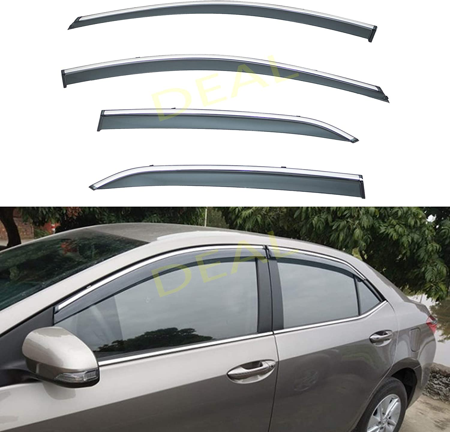 DEAL 4-Piece Set Outside Mount Tape On//Clip On Type Smoke Tinted Sun//Rain Guard Vent Window Visors With Chrome Trim For 2014-2018 Toyota Corolla All Models