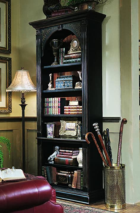 Hooker Furniture 500 50 385 Black Bookcase, Black With Gold Accents