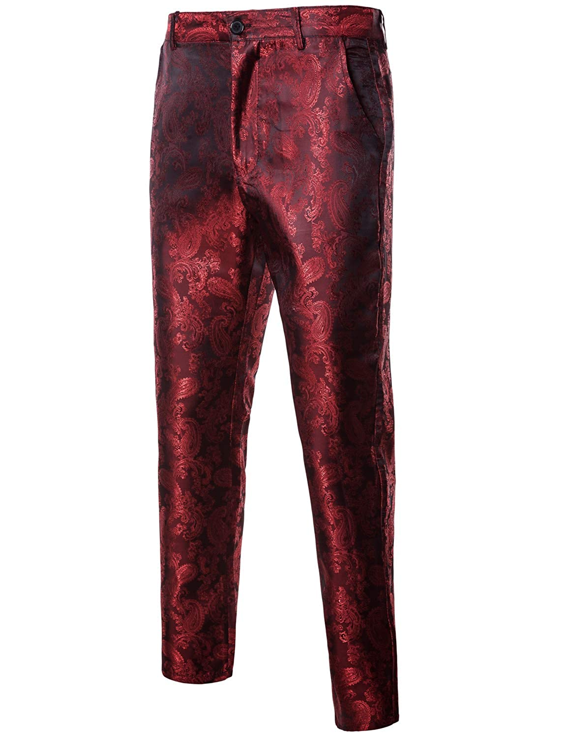 ZEROYAA Mens Casual Paisley Design Flat Front Suit Pant/Straight Leg Trousers