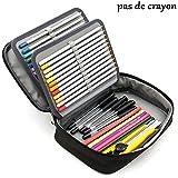 Sumnacon Nouveau 72 toile Trousse de Crayon Scolaire, Multi-fonctions et avec 4 Couches Démontables, Sangle et Grande Capacité, Pratique et Solide (Noir)