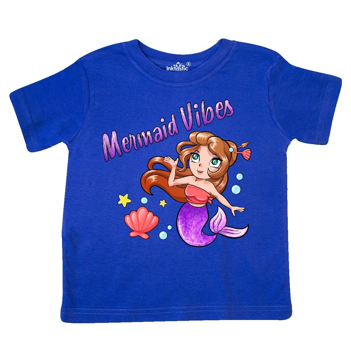 inktastic Mermaid Vibes Cute Mermaid with Purple Tail Toddler T-Shirt
