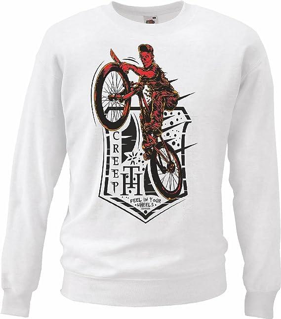 Sudaderas Suéter MONTAÑA BTT reparación de la Bicicleta de Ciclo del Paseo en Bicicleta BTT Camisa en Blanco: Amazon.es: Ropa y accesorios