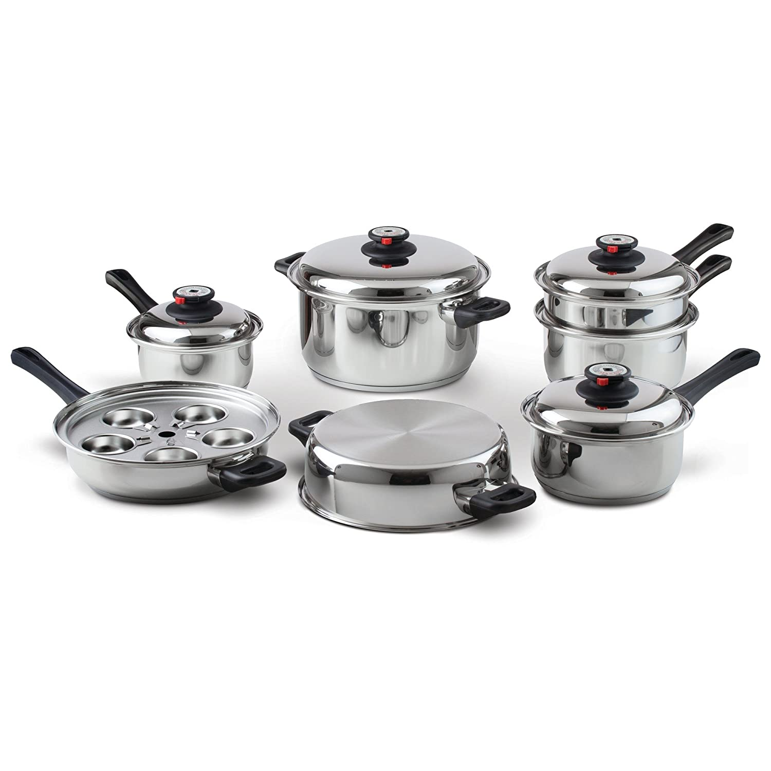 Maxam 9-Element Waterless Cookware Set, Durable Stainless Steel Construction with Heat and Cold Resistant Handles, 17-Pieces