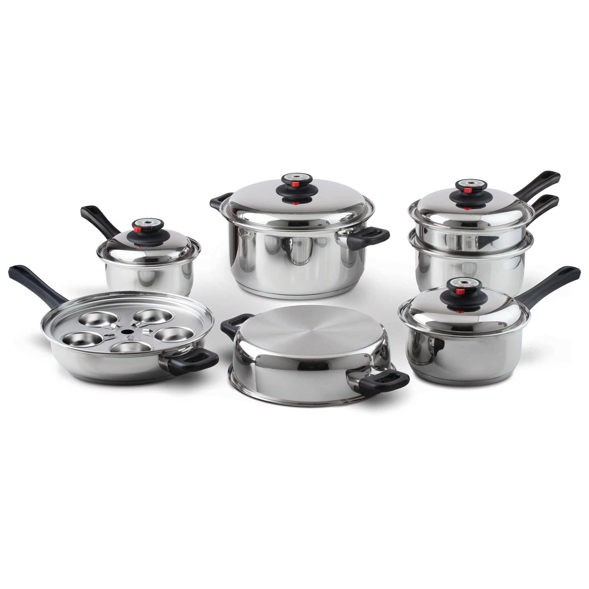 Maxam 9-Element Waterless Cookware Set, Durable Stainless Steel Construction with Heat and Cold Resistant Handles, 17-Pieces by Maxam