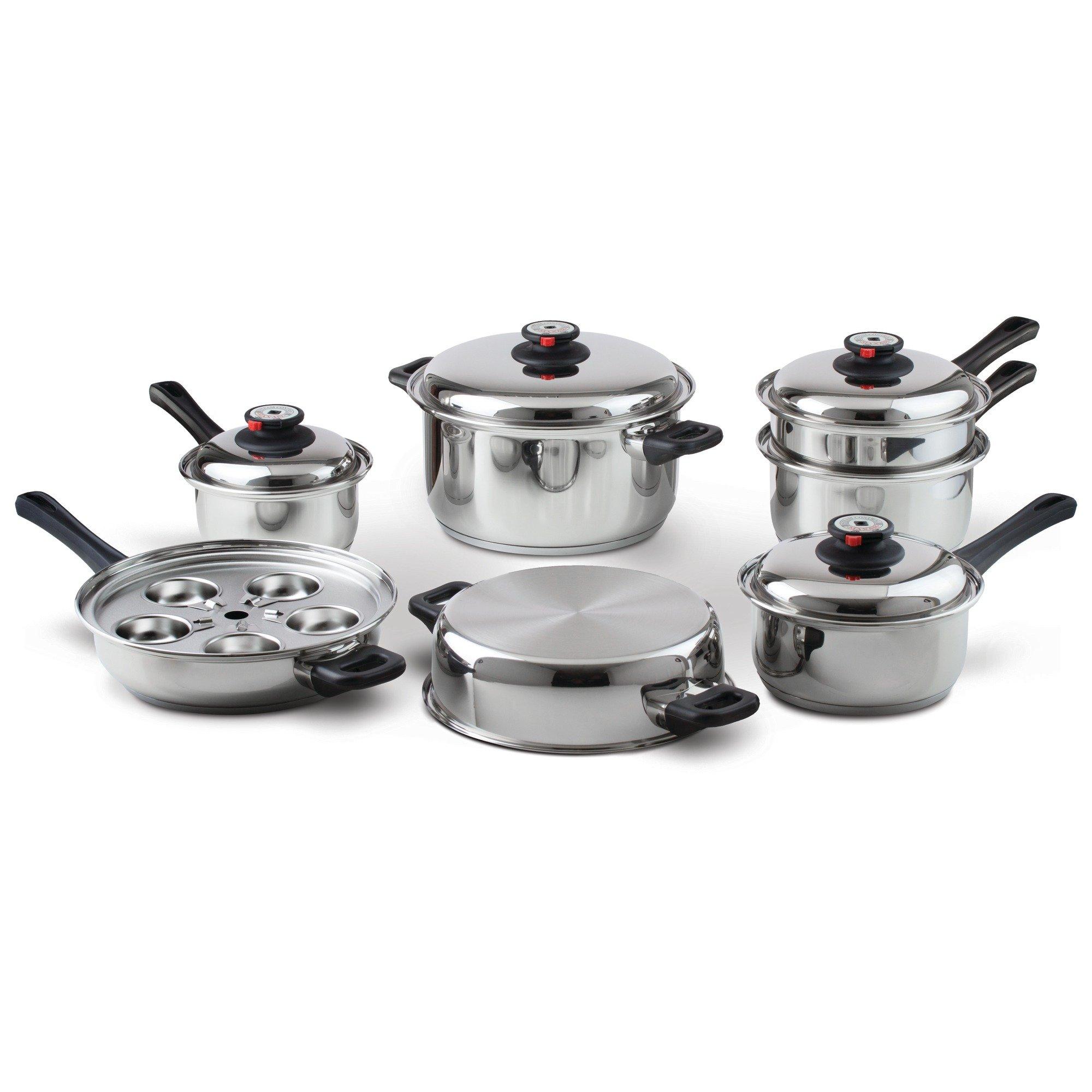 Maxam KT17 17-Piece 9-Element Surgical-Stainless-Steel Waterless Cookware Set by Maxam