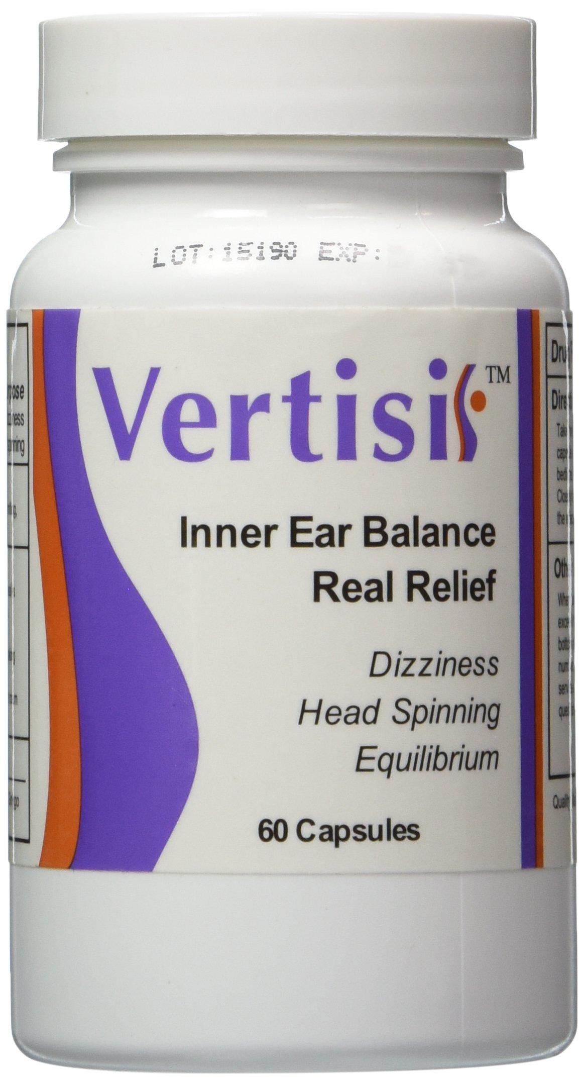Relieve Vertigo Symptoms including Dizziness, Nausea,Motion Sickness, spinning & swaying sensations with Vertisil. 60 Caps All Natural Ingredients. 100% Lifetime Money Back Guarantee