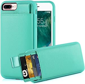 """iPhone 8 Plus /7 Plus Card Holder Case, iPhone 7 Plus Wallet Case, LAMEEKU iPhone 7 Plus Leather case with Hidden Credit Card Slot, Protective Cover for Apple iPhone 8 Plus /7 Plus 5.5"""" Mint Green"""