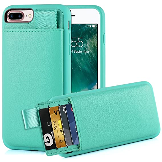 pick up 5275a 8e208 LAMEEKU iPhone 8 Plus /7 Plus Card Holder Case, iPhone 7 Plus Wallet Case,  iPhone 7 Plus Leather case with Hidden Credit Card Slot, Protective Cover  ...