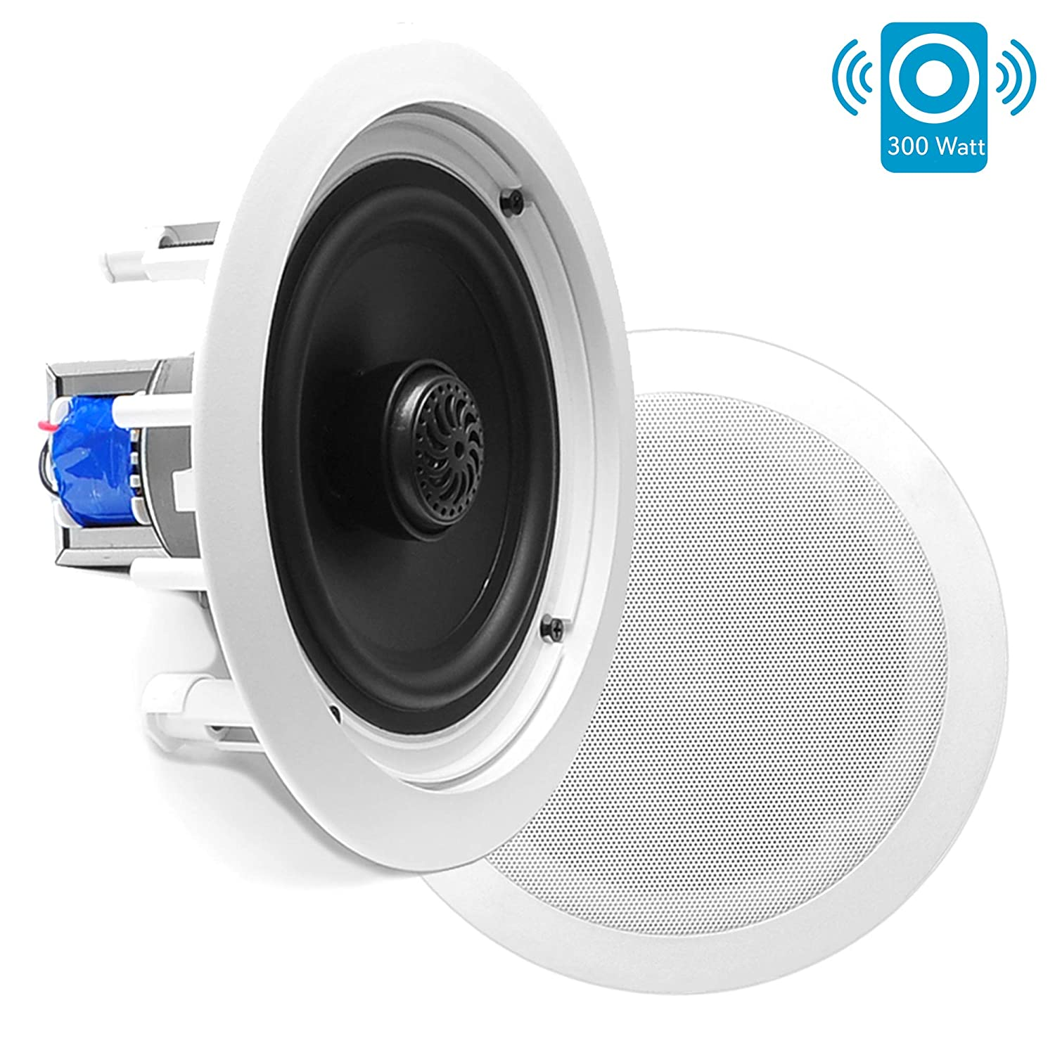 """8"""" Ceiling Wall Mount Speakers - Pair of 2-Way Midbass Woofer Speaker 70v Transformer Directable 1"""" Titanium Dome Tweeter Flush Design w/ 55Hz-22kHz Frequency Response & 300 Watts Peak - Pyle PDIC80T"""