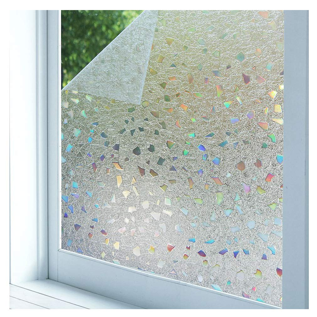 Bloss 3D Static Cling Window Film Stained Glass Window Film Decorative Frosted Window Clings Vinyl Window Covering 17.7Inch x 78.7Inch 1 Roll