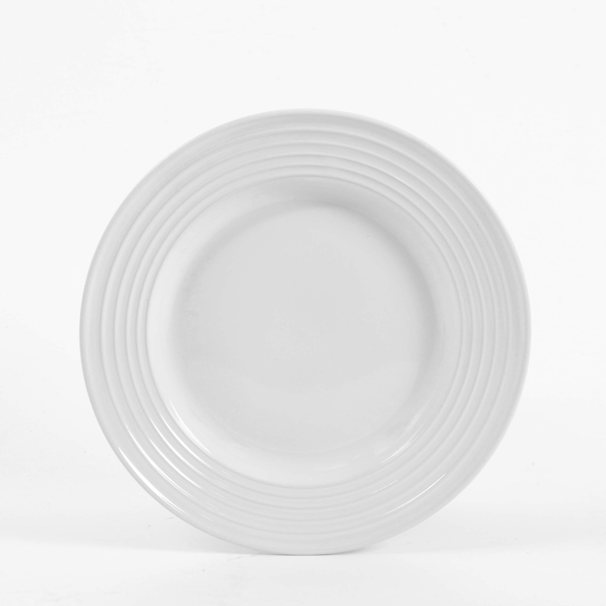 Gibson Home 12 Piece Plaza Cafe Round Dinnerware Set with Embossed Stoneware, White by Gibson Home (Image #5)