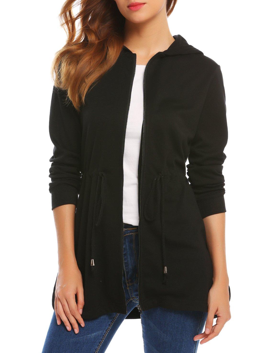 SE MIU Womens Active Soft Zip Up Hoodie Sweater Jacket Black S
