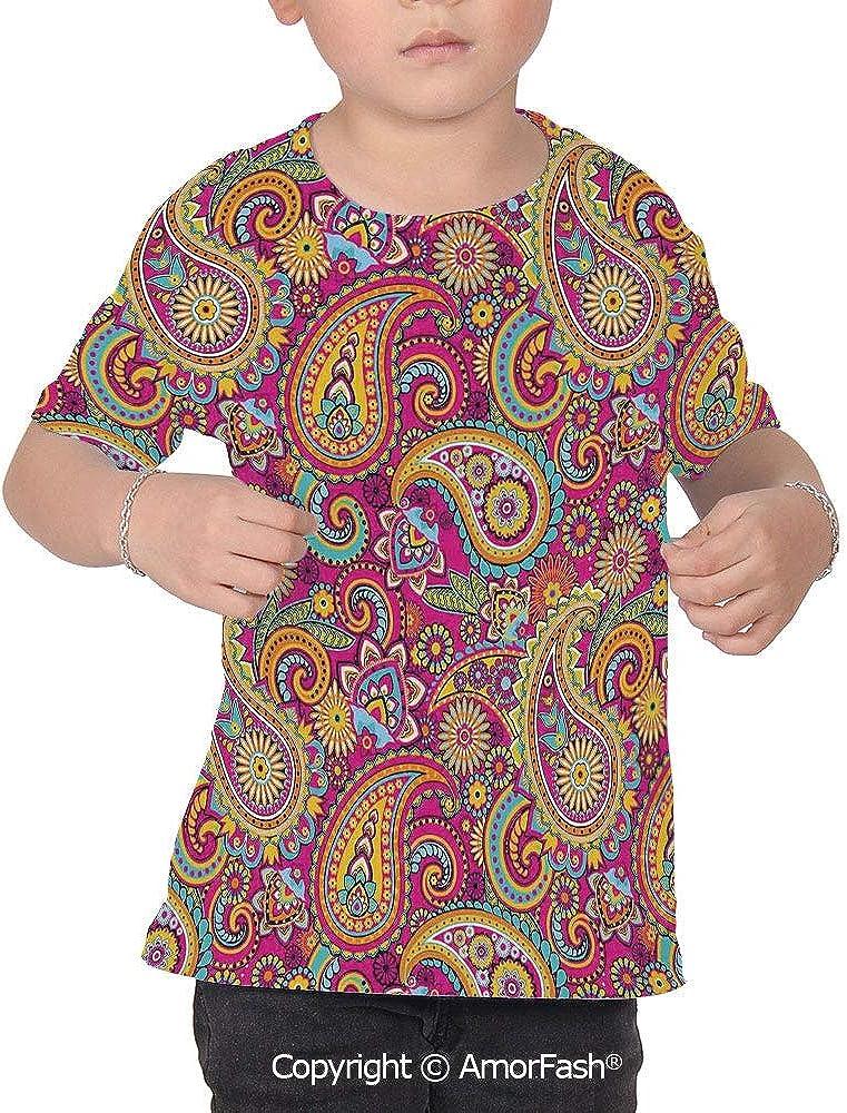 PUTIEN Paisley Girl Regular-Fit Short-Sleeve Shirt,Personality Pattern,Paisley Patterns