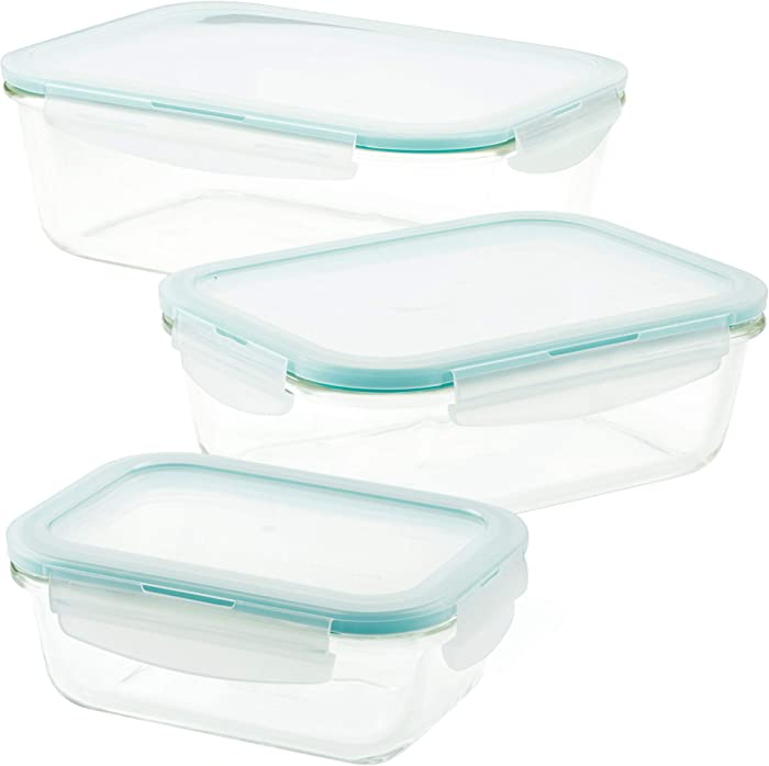 LOCK & LOCK Purely Better Glass Food Storage Container Set, 6 Piece, Clear